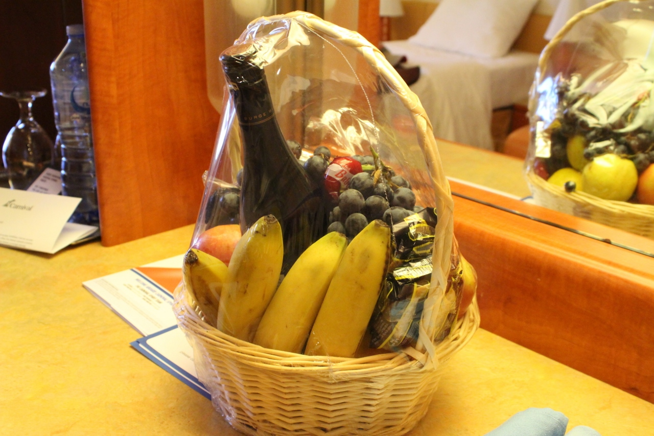 A wine and fruit hamper waiting in the guest's cabin on their arrival can be arranged through the new Fun Shops program.