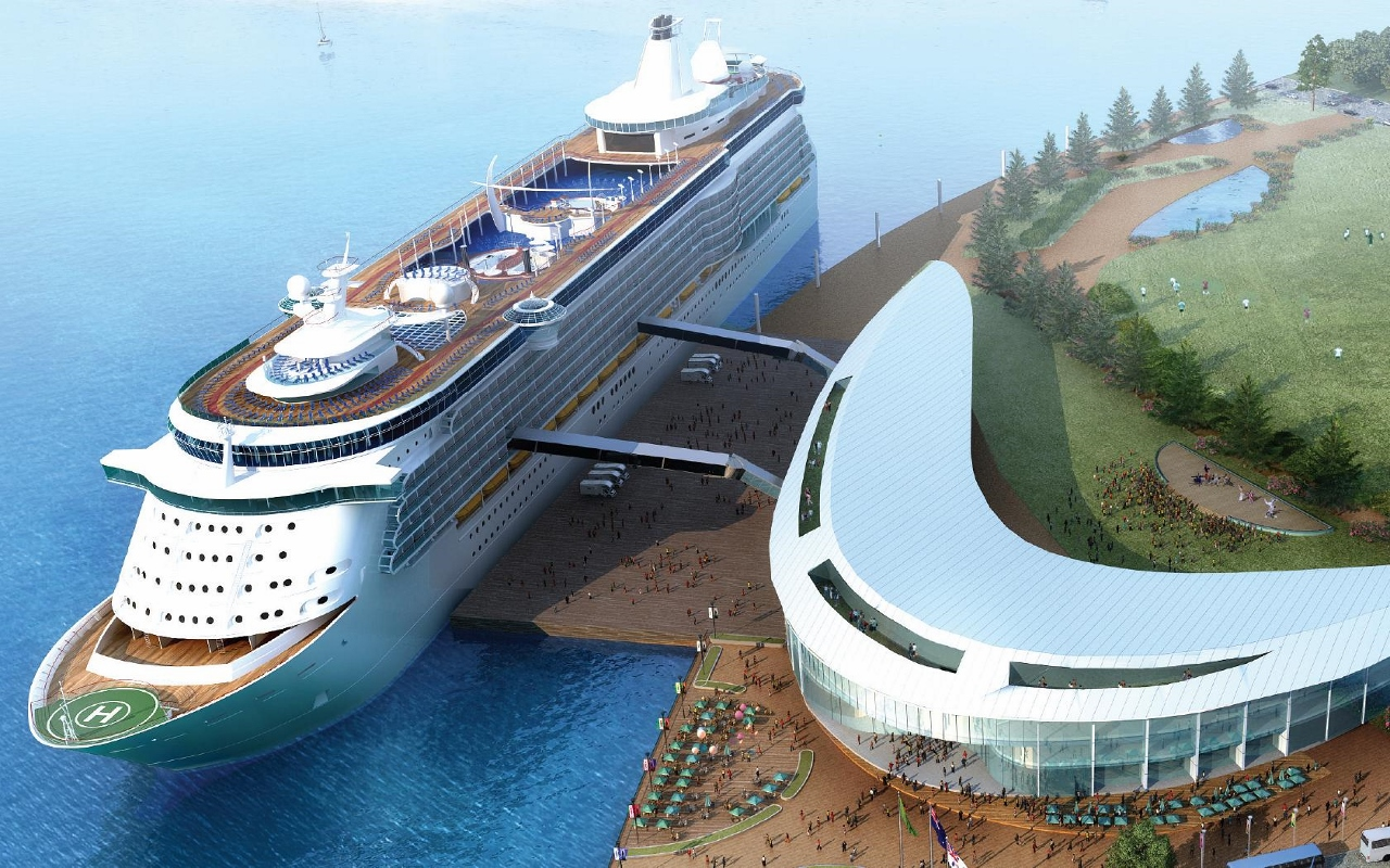 An outline of how the proposed new cruise terminal in Brisbane will look from its opening in late 2019.