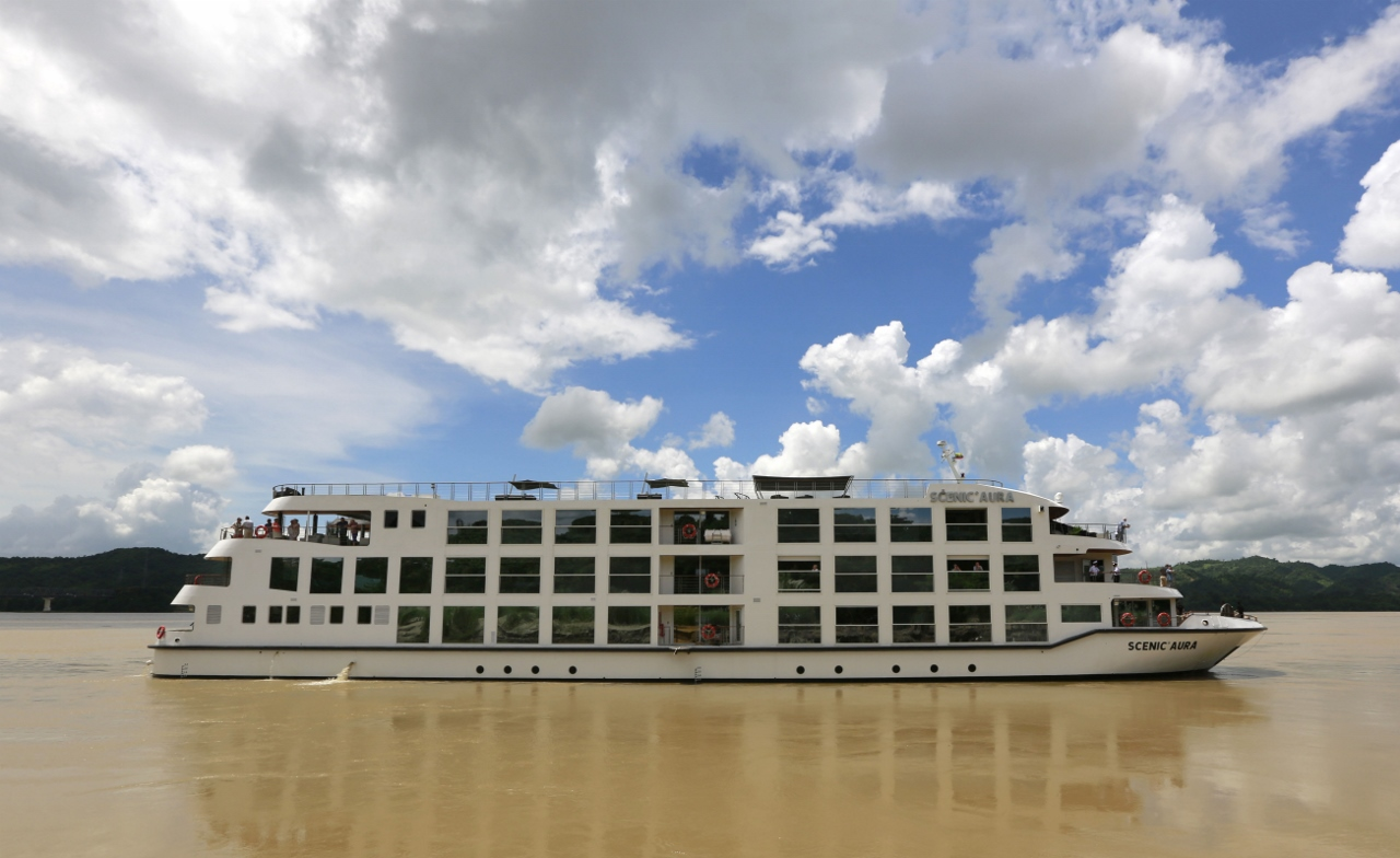 Scenic Aura on the Irrawaddy River in Pyay, one of the newest ships to join the line's fleet.