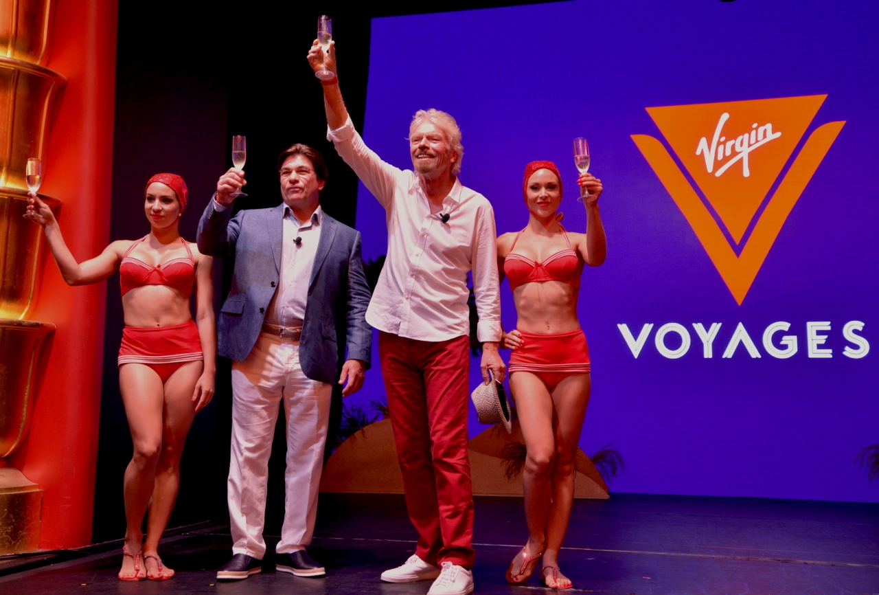 Sir Richard Branson and company CEO Tom McAlpin toast to Virgin Voyages and its 2020 debut.