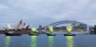 Emerald Princess makes its maiden arrival in Sydney Harbour.