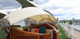 Celebrity Solstice now features cabanas on the top decl Lawn Club