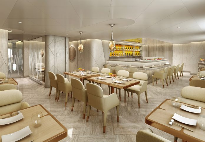A rendering of the new Japanese restaurant, Sushi, on Seabourn Encore.