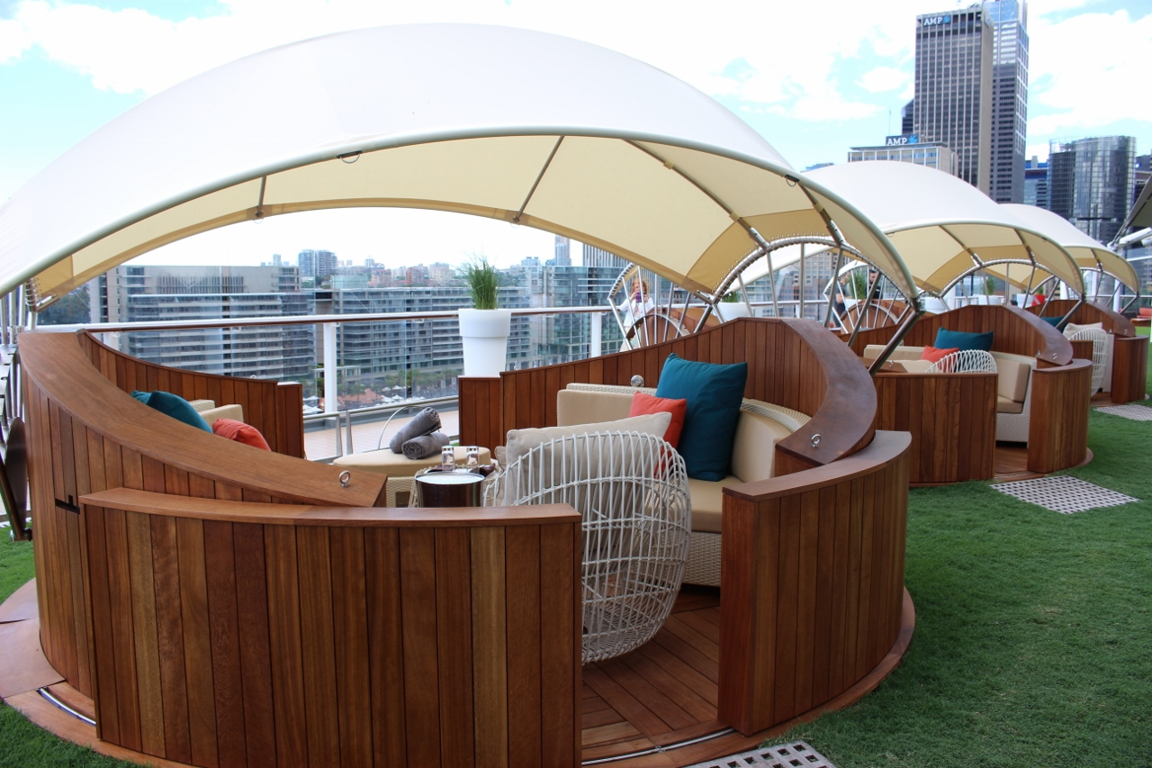 Six comfortable alcove cabanas are in place to rent up at the Lawn Club on Celebrity Solstice.