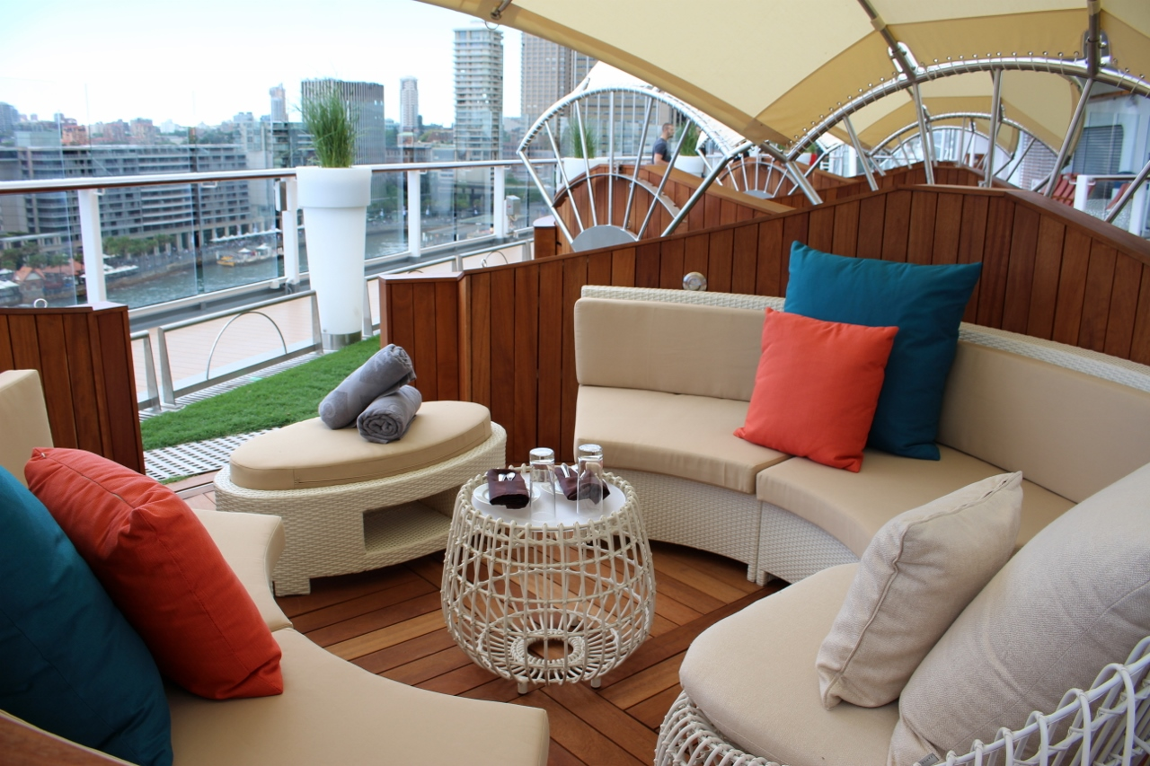 Cruisers can enjoy a day of luxury service in one of the new Lawn Club cabanas.