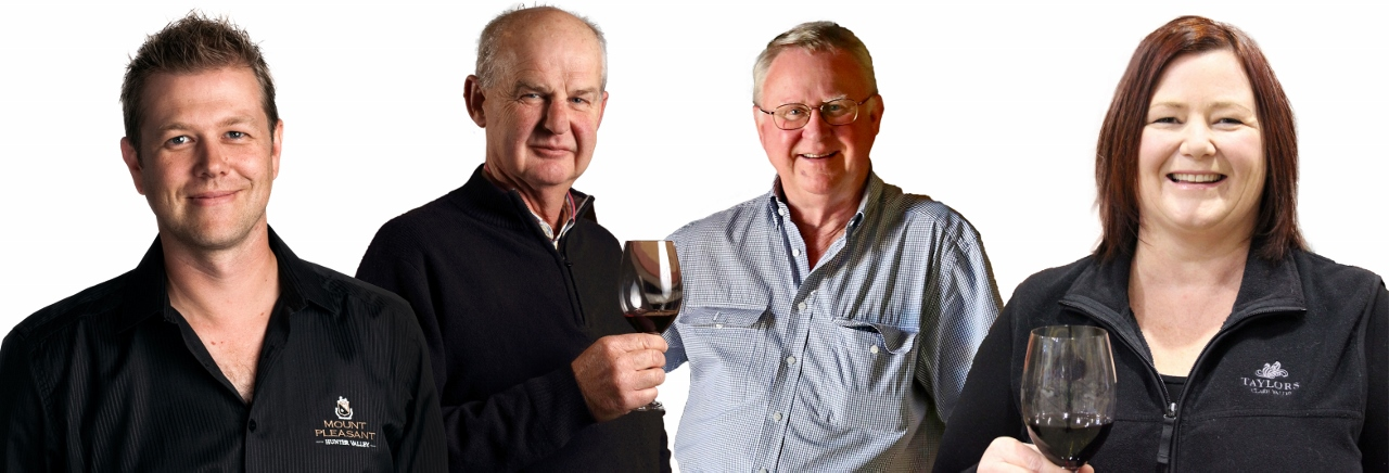 APT has signed four experts to host Wine Series river cruises in 2017. From left is Scott McWilliam (McWilliam's Family Winemakers), Peter Barry (Jim Barry Wines), Bruce Tyrrell (Tyrell's Wines) and Cherry Stowman (Taylors Wines).
