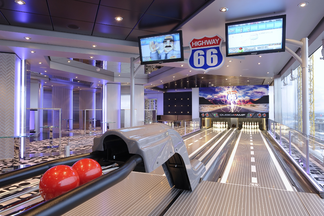 Among many other passenger amenities, MSC Magnifica features a multi-lane bowling alley.