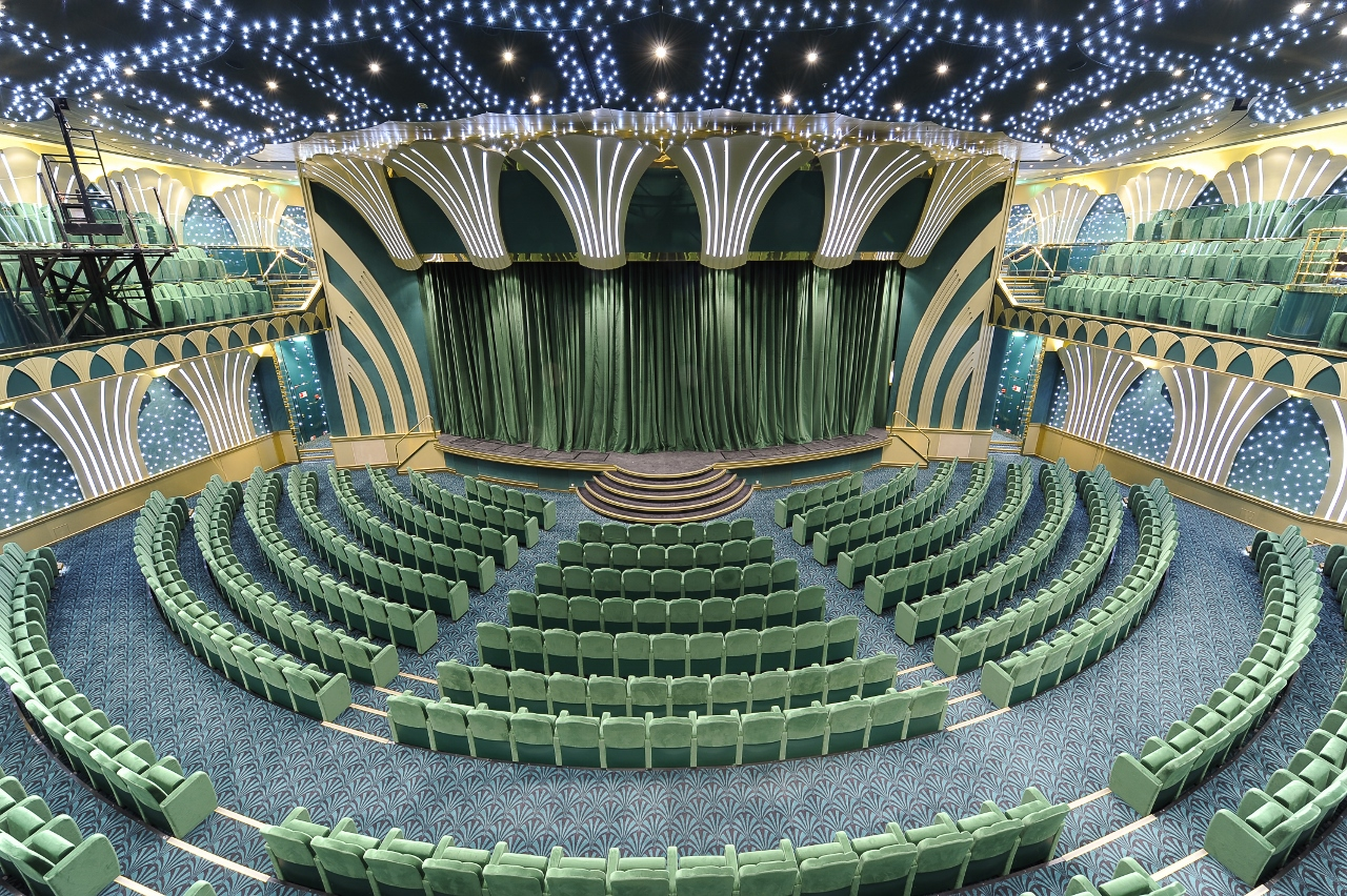 The circular art-deco style theatre on MSC Magnifica offers seating for 1,250 passengers.