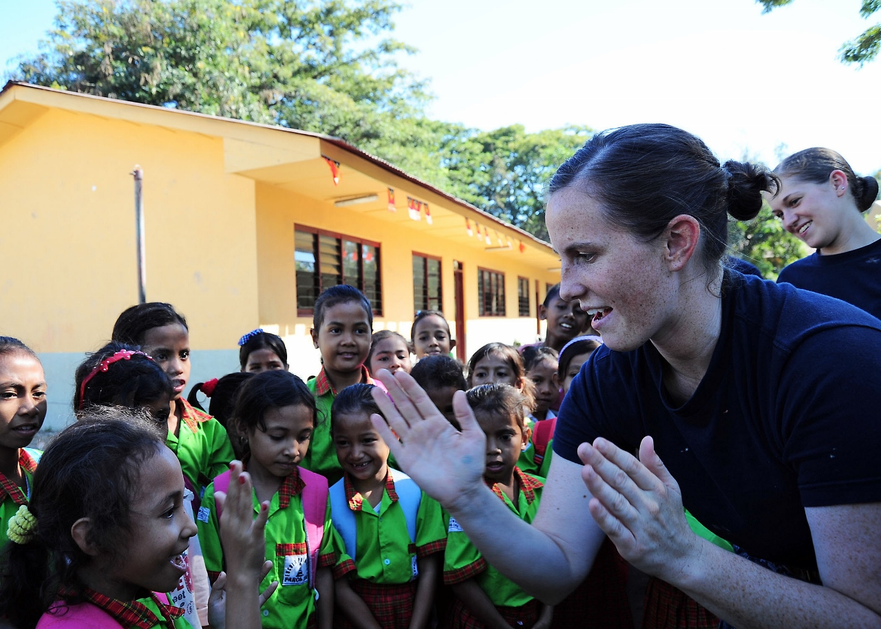 Humanitarian visits to schools could become part of a cruise line's shore excursion program in the future.