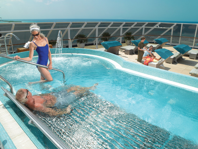 The top deck Thallasus Pool is renowned for its healing and skin enrichment functionality.