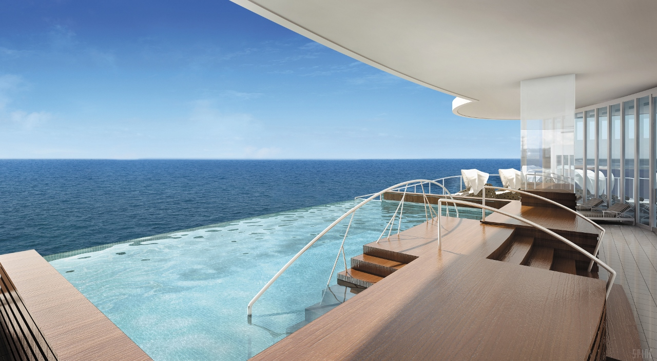 Swim right to the edge of the ship in the Infinity Pool on Regent Seven Seas Cruises.
