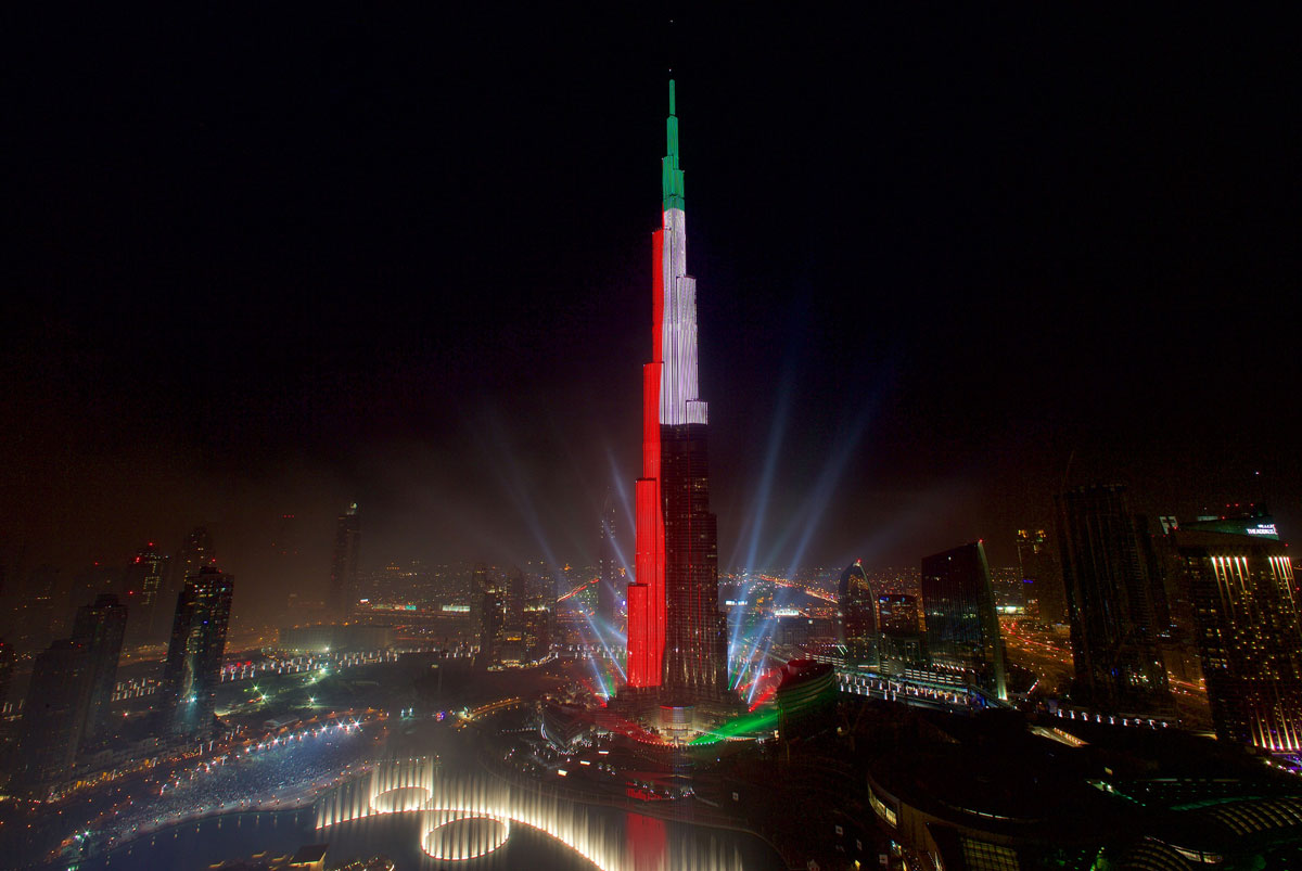 Dubai's Burj Khalifa lights up local skies each year for New Year's Eve celebrations.