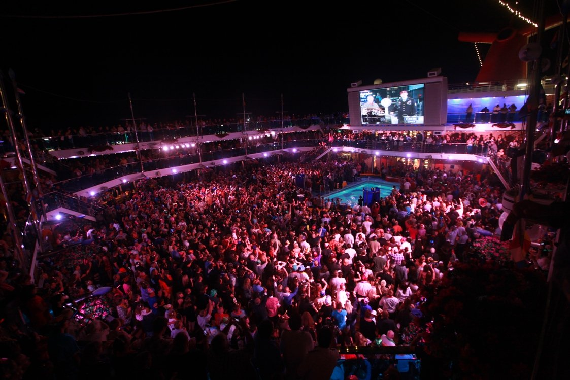 Passengers celebrating New Years Eve aboard a Carnival Cruise Line vessel.