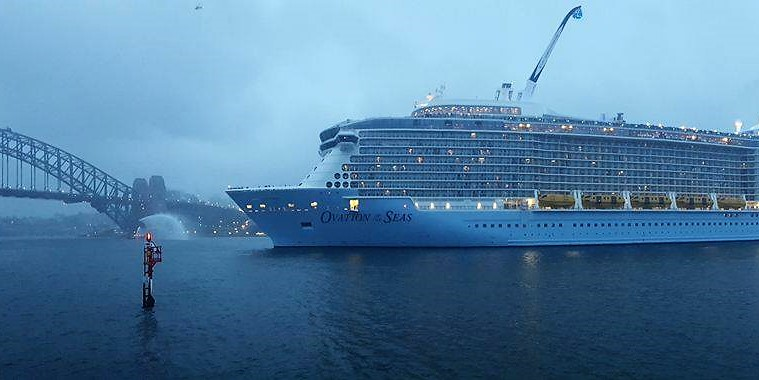 Ovation of the Seas docks in Sydney for the first time.