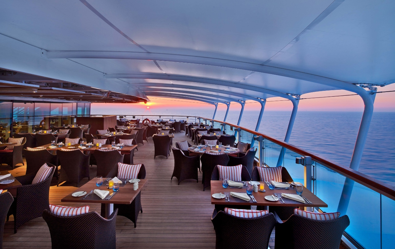 The Colonnade restaurant is like an international food marketplace on Seabourn Encore.