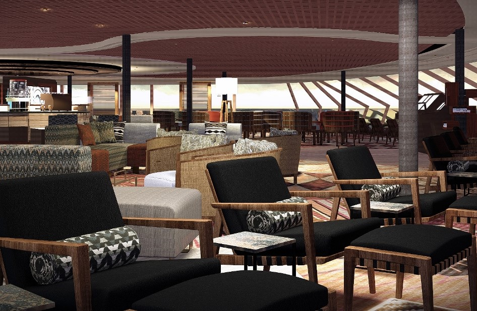 On some HAL ships, the Explorations Lounge will be fitted in the Crow's Nest but may be applied to other lounges or rooms onboard.