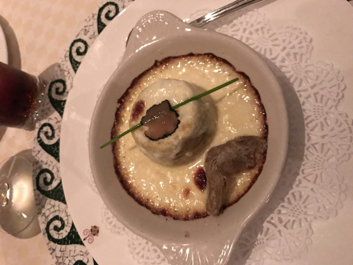 The double baked artichoke soufflé.