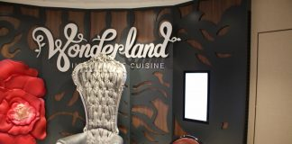 Royal Caribbean's Ovation of the Seas features the mystical Wonderland specialty dining venue.