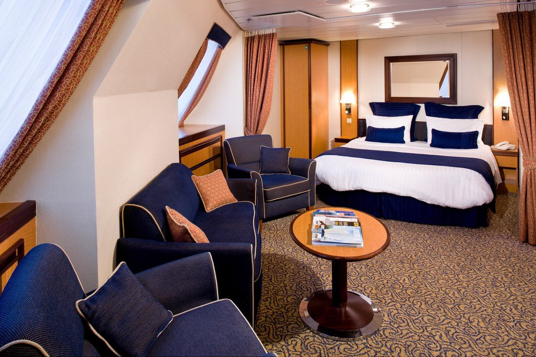 The bedroom of a Family Ocean View stateroom on Royal Caribbean's Radiance of the Seas.