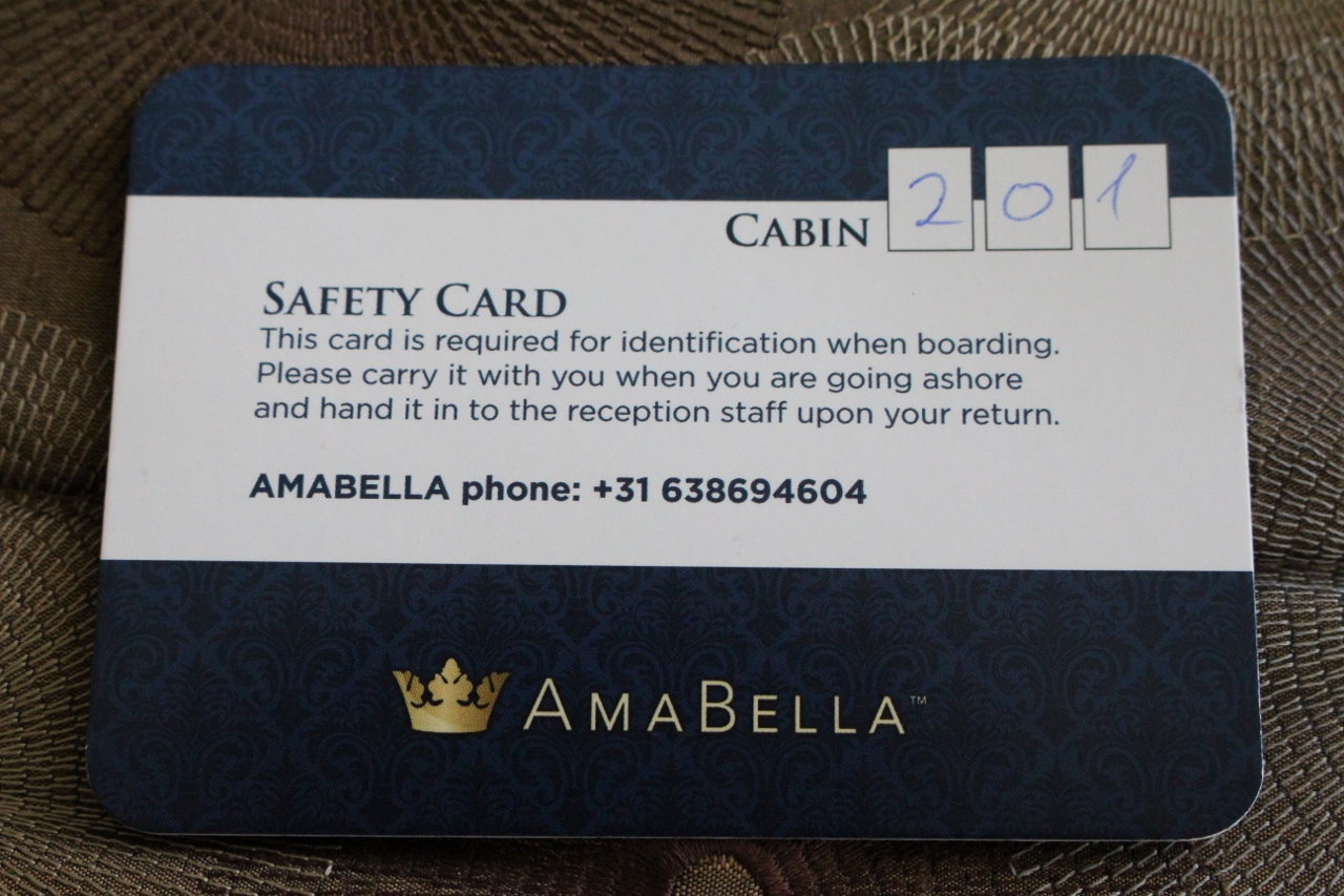 The APT Safety Card is an essential item you will need to keep safe to ensure you get back onto the ship easily after each tour.