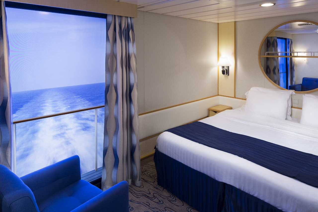 An Inside Stateroom with Virtual Balcony on Voyager of the Seas.