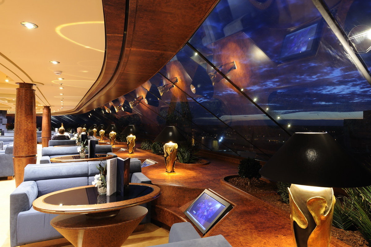 One perk of the MSC Yacht Club is access to a private lounge with amazing views.