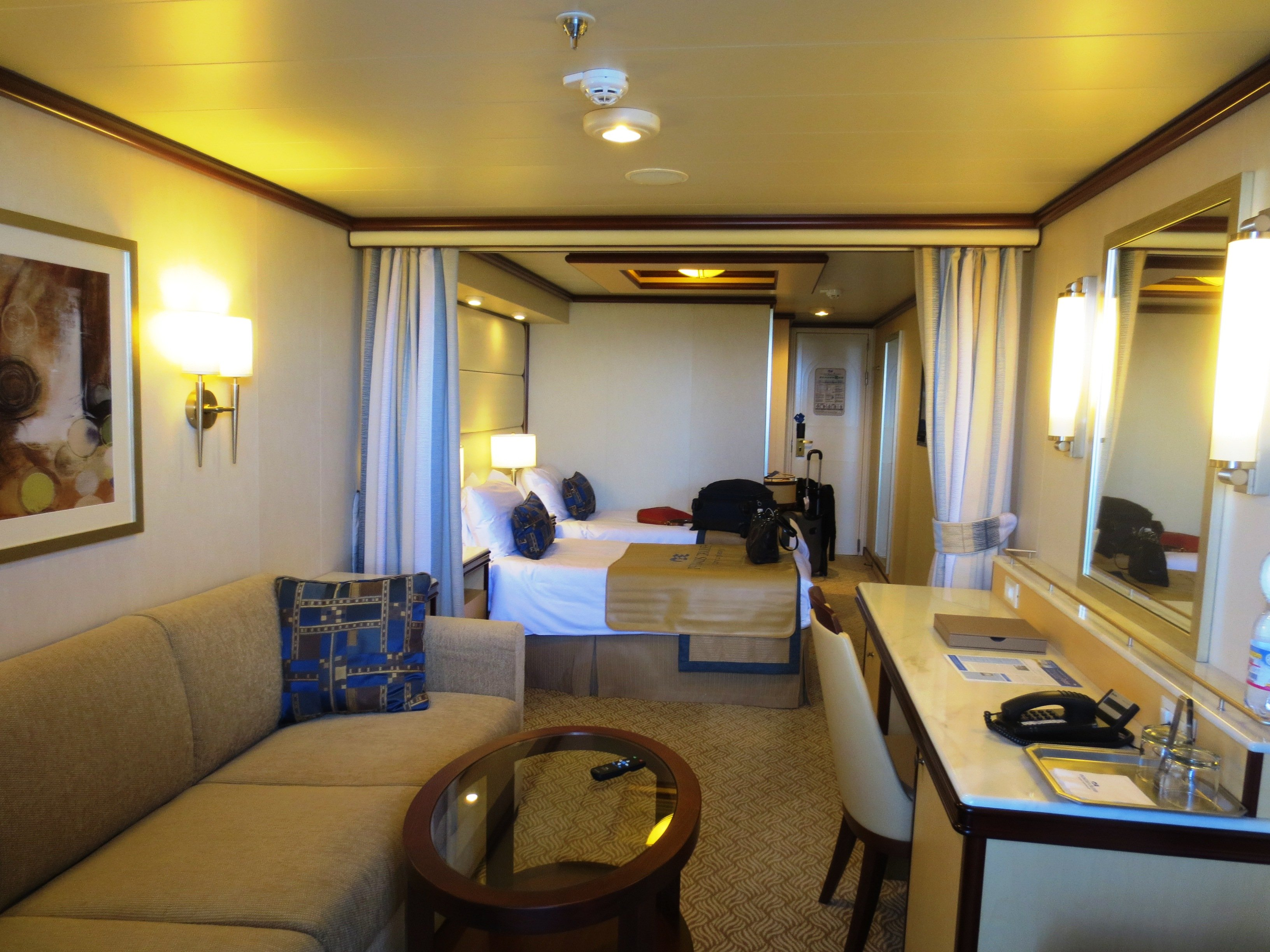 A Club Class Mini-Suite, featuring the new Princess Luxury bed.