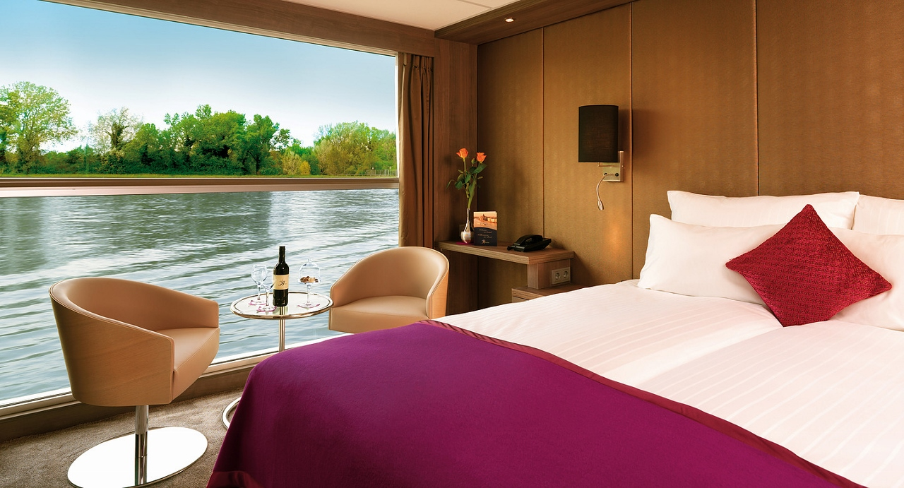 Staterooms on MS Amadeus Provence feature a panoramic window that you can sit right beside.