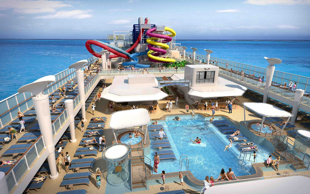 Norwegian's new style of ship will build on existing concepts, such as the Aqua Park featured on the top deck.