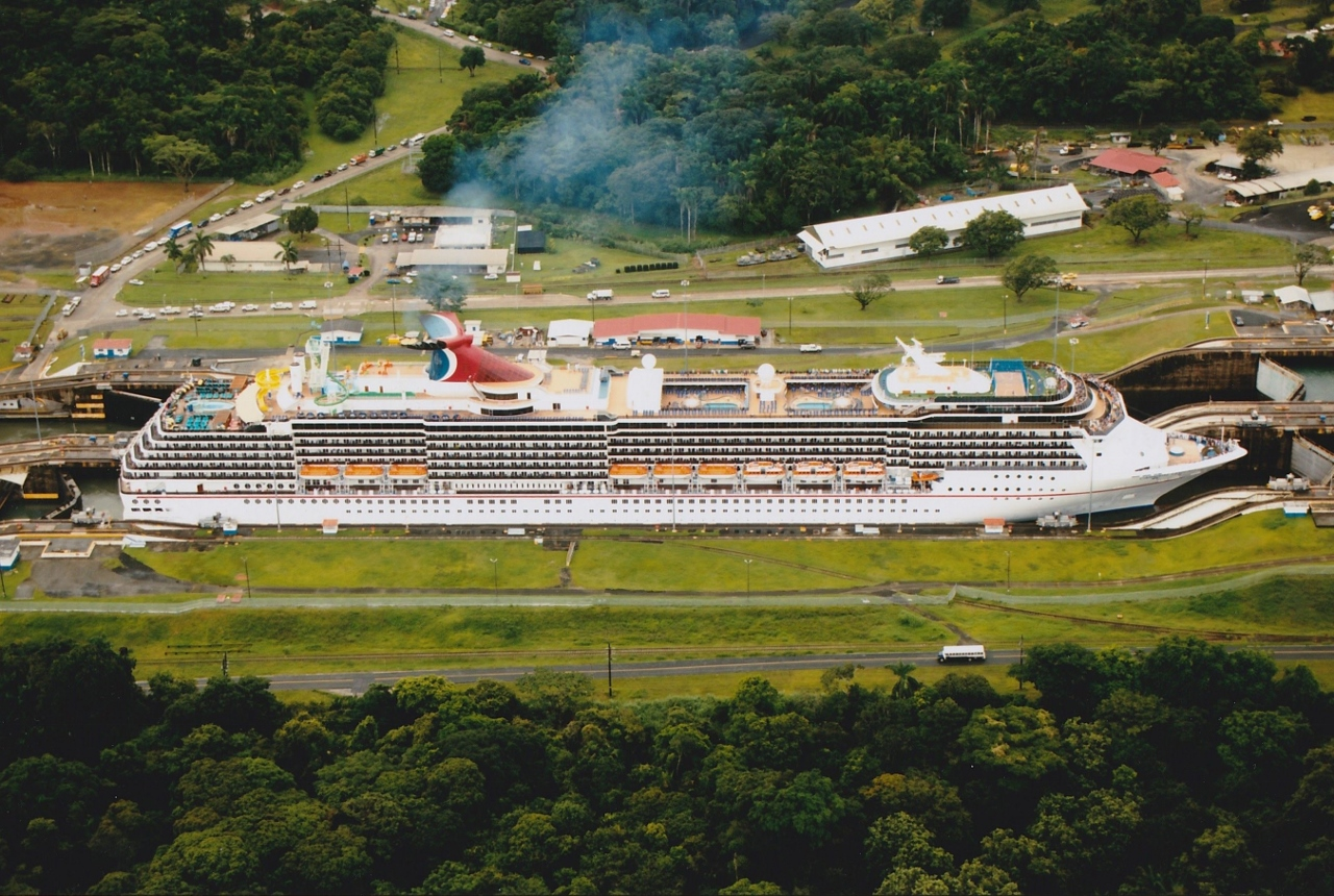 A Carnival Cruise Line ship passes through one of the Panama Canal locks.