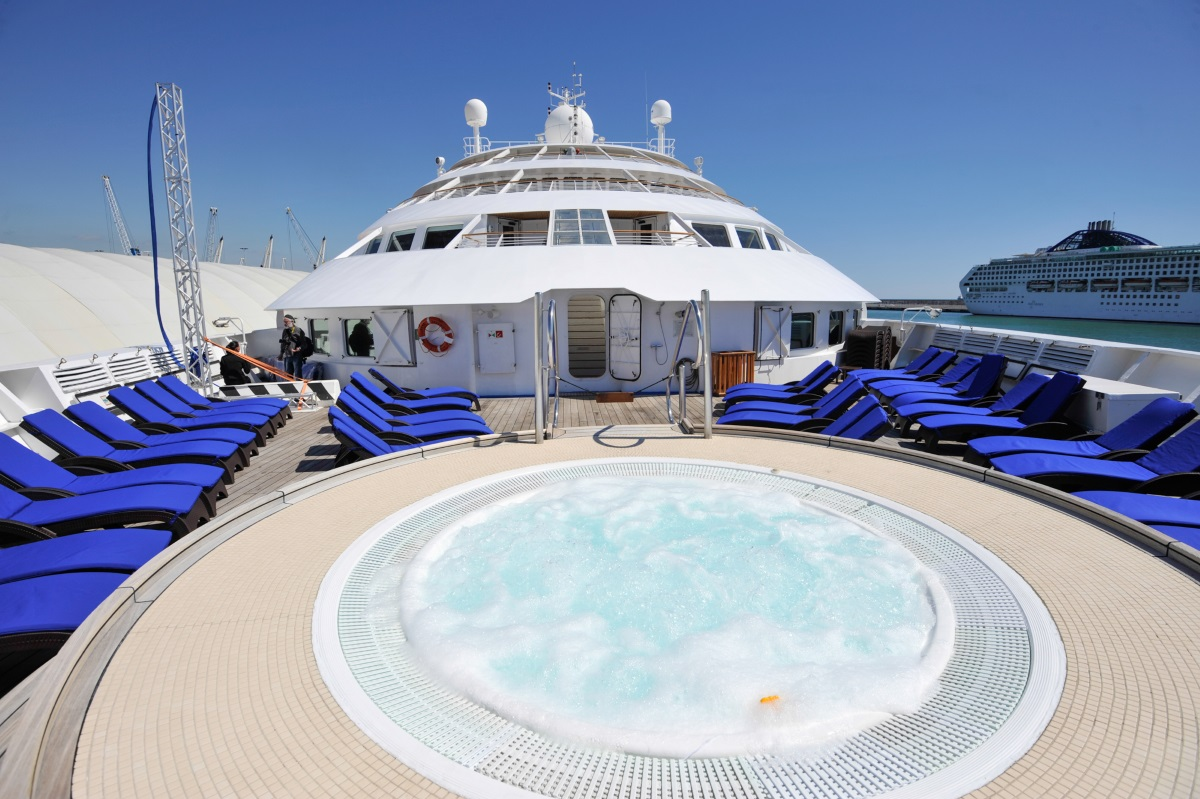 Multiple swimming pools and whirlpool spas are available for guests on Star Legend - a great way to view glaciers.