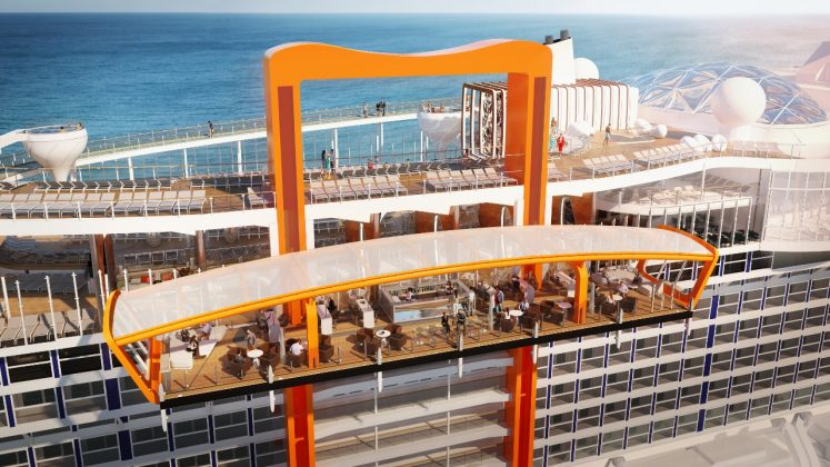 The Magic Carpet on Celebrity Edge will be a levitating multi-use platform on the edge of the ship.