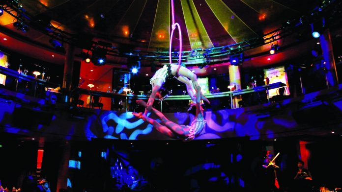 The Spiegal Tent on Norwegian Epic hosts a variety of exciting circus themed shows at sea.
