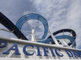 P&O Cruises' Pacific Dawn is proudly showing off its new water slides having returned from dry dock in Singapore.