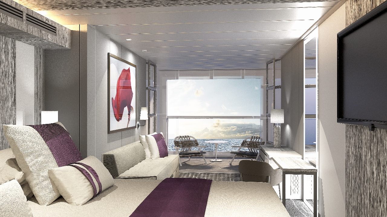 Doing away with typical balcony doors, the new Edge Stateroom allows you to turn the whole room into a balcony.