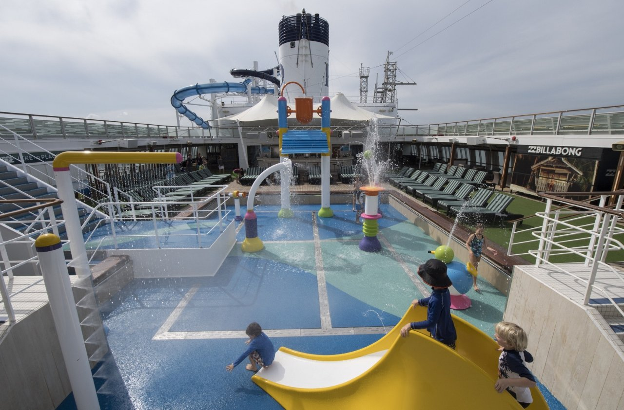 Flanked by water slides, P&O's new splash park offers plenty of safe space for kids to get wet and run around.